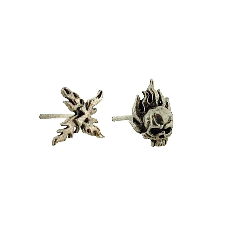 14f19cfaa23d1 Amazon.com: Jakob Strauss Gents Sterling Silver Skull & Cross Stud ...