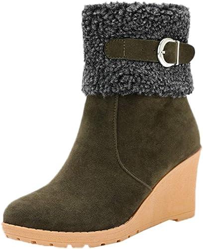 Bottes de Neige,Subfamily Femme Bottes de Neige Fourrure Chaud Mode Courts avec Doublure Bottines Haut Talon Hiver Chaussures Bottes Snow Boot