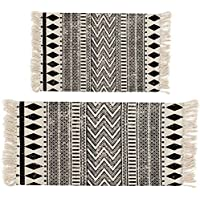 HEBE Area Rug Cotton 2 Piece Set Woven Cotton Area Rugs Runner Machine Washable Cotton Rug Fringe Tassel Living Room Bedroom Kitchen 2x3+2x4.2
