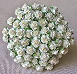 100 pcs Mini Roses White Color 15 mm Flowers