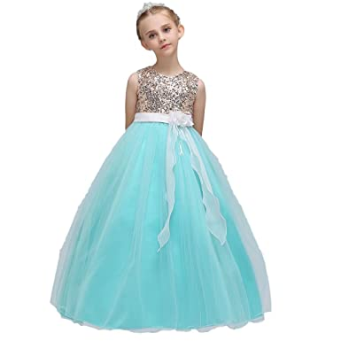 Amazon.com: Oukaiyi Girl Lace Flower Girl Princess Dress Tulle Long ...
