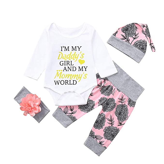 Amazon.com: Baby Girl Letter Romper Tops Floral Pants Hat Outfits ...