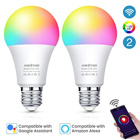 AMBOTHER Smart WiFi Lampen E27 LED Smart Wlan Glühbirnen RGBCW Dimmbar Timing & Fernbedienung via APP & Sprachsteuerung Kompa