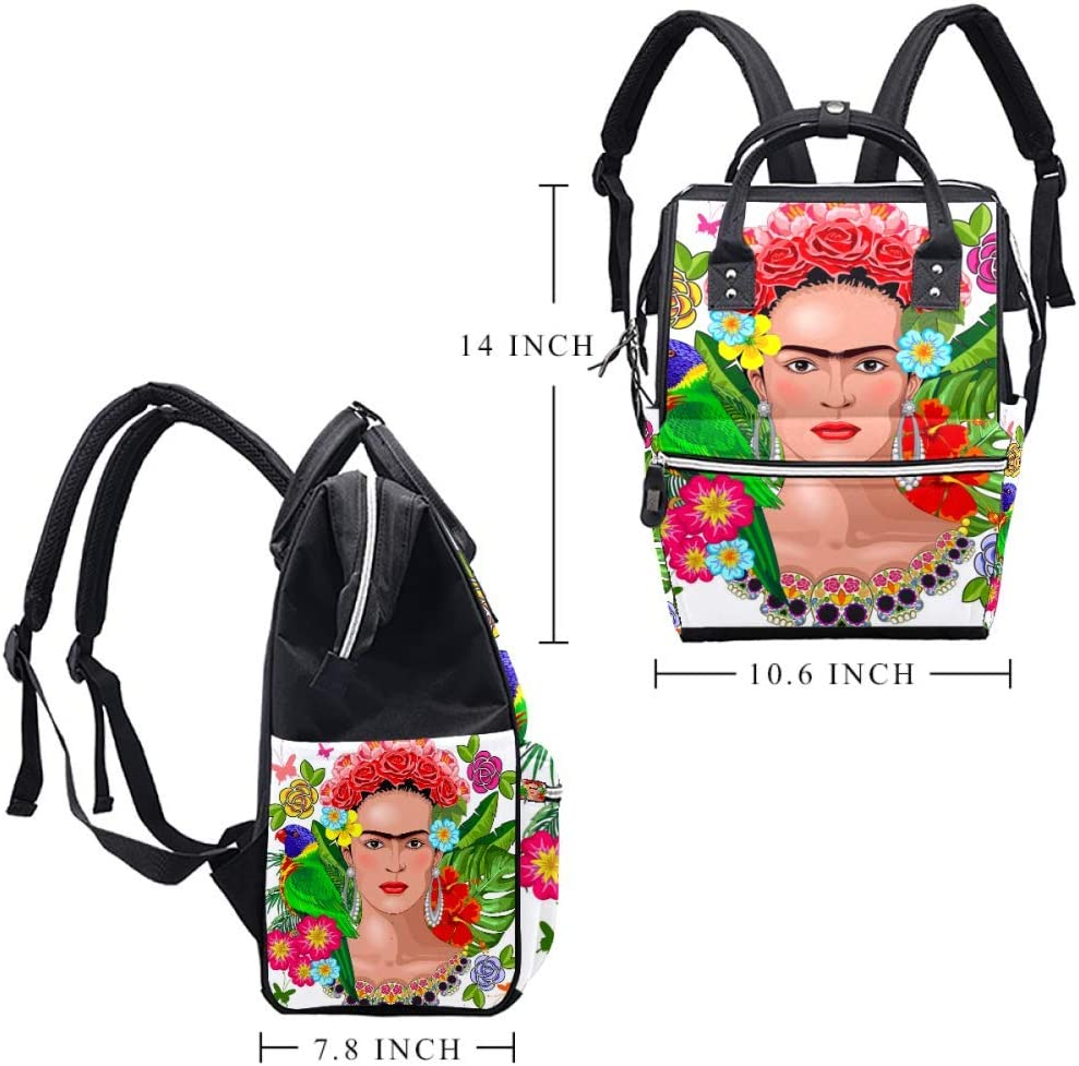 Frida Kahlo Floral Exotic Portrait Diaper Bag Large Capacity Handbags Canvas Shoulder Backpack Changing Bags for Baby Care