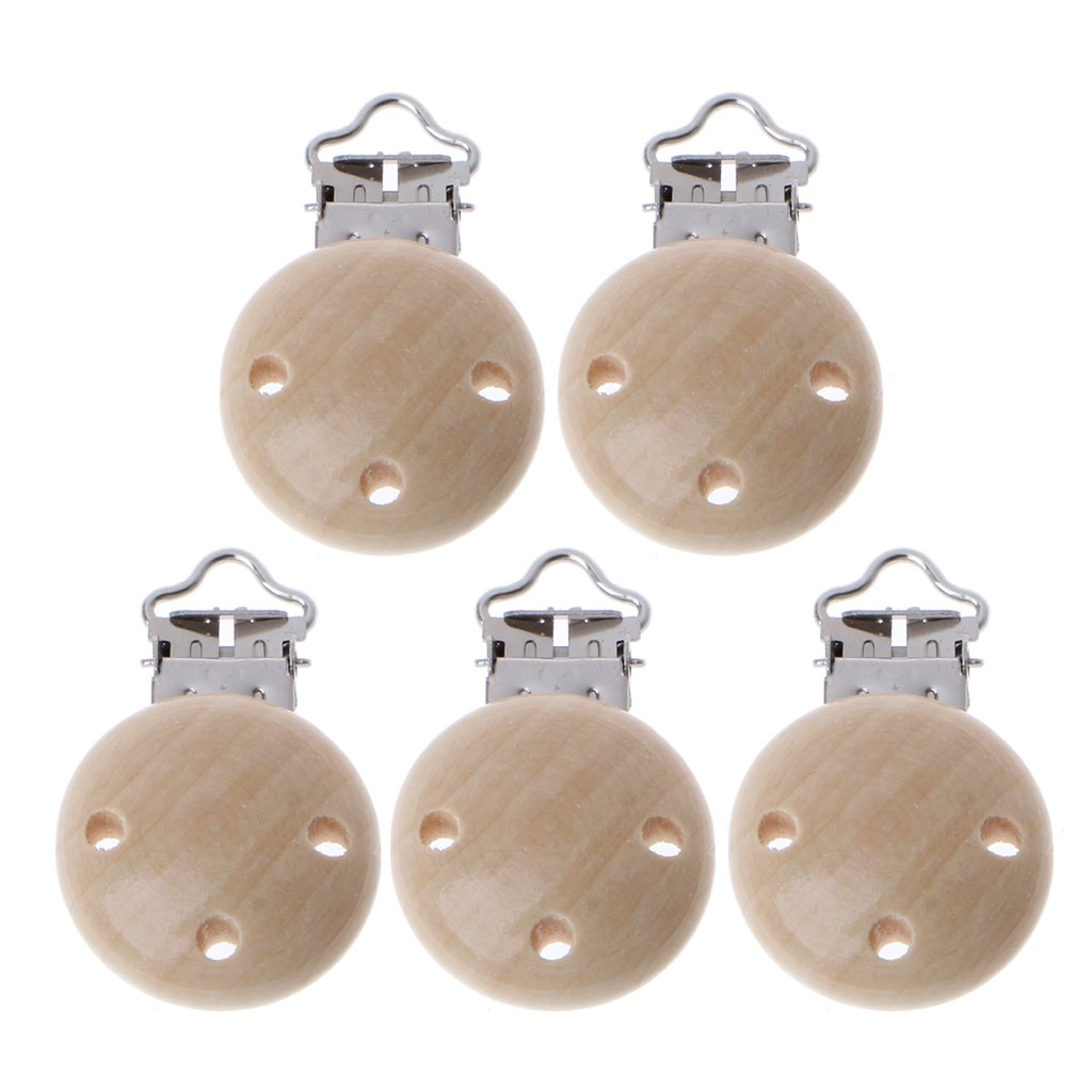 NNGUBIU 5Pcs Metal Wooden Baby Pacifier Clips Infant Soother Clasps Holders Accessories