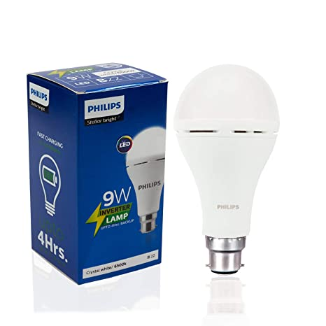 more photos 0f8ed 0109c Philips Inverter Bulb 9 Watt Rechargeable Emergency LED Bulb for Home, Cool  Daylight, Base B22