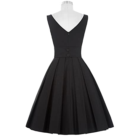 Trendy-Nicer Sexy Pinup Vestidos Rockabilly Hepburn O-Neck Sleeveless TunicBlack Retro Casual 50s Vintage Dresses at Amazon Womens Clothing store: