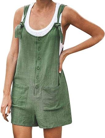 Luckycat Monos Mujer Verano Bermuda Button Front Mono Corto para Mujer Mono Corto Mujeres Playa de Mujer Pantalones de algodón de Lino Mamelucos Mono Suelto Overoles Petos Pantalones Cortos de Verano: Amazon.es: