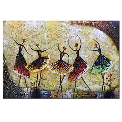 Metuu Oil Paintings, Ballet Dancer Girl Paintings Modern Home Decor Wall Art Painting Wood Inside Framed Hanging Wall Decoration Abstract Painting Ready to hang 24x36inch by Metuu