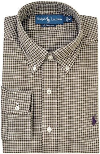 Polo Ralph Lauren Classic-Fit Checked Sueded Twill Shirt, Green, XXL (Sueded Twill Shirt)