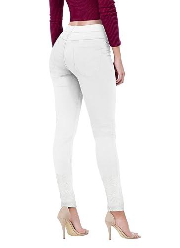 HyBrid & Company Women's Super Comfy Stretch Lace Crochet Bottom Skinny Jeans
