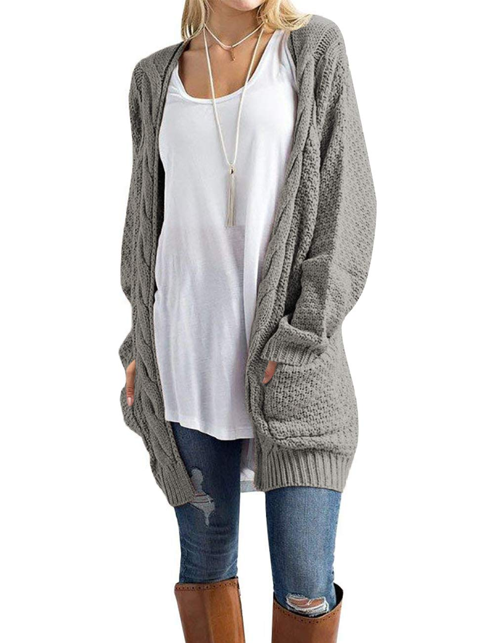 Traleubie Womens Open Front Cardigan Pockets Cable Knit Long Sleeve Sweaters Warm Tops Grey L