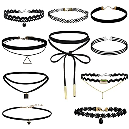 6d273ab4dcde2 Amazon.com: Trasfit 10 Pieces Lace Choker Necklace for Women Girls ...