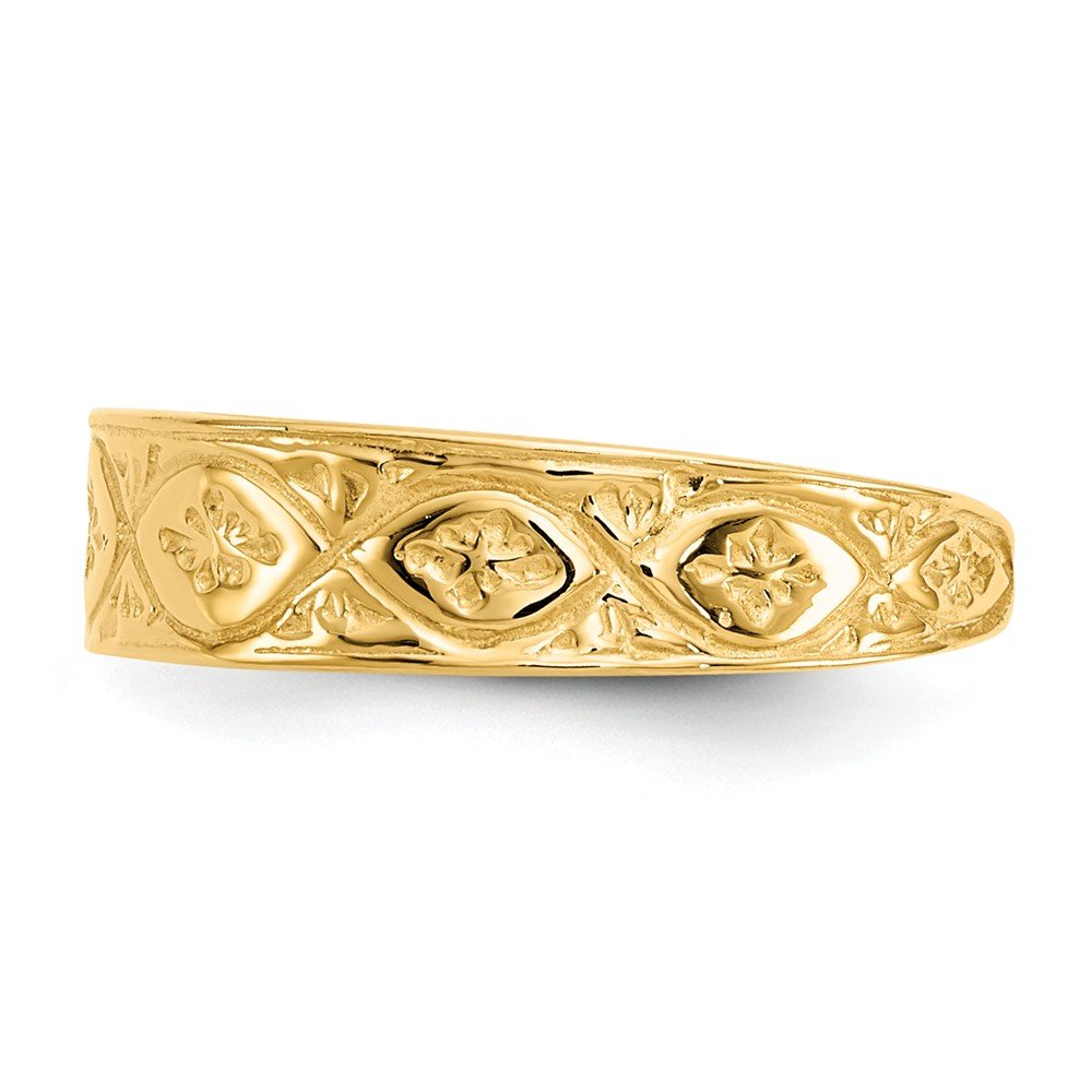 14K Yellow Gold Polished Wave flower Center Toe Ring Solid Toe Rings Jewelry GemApex 37K571519