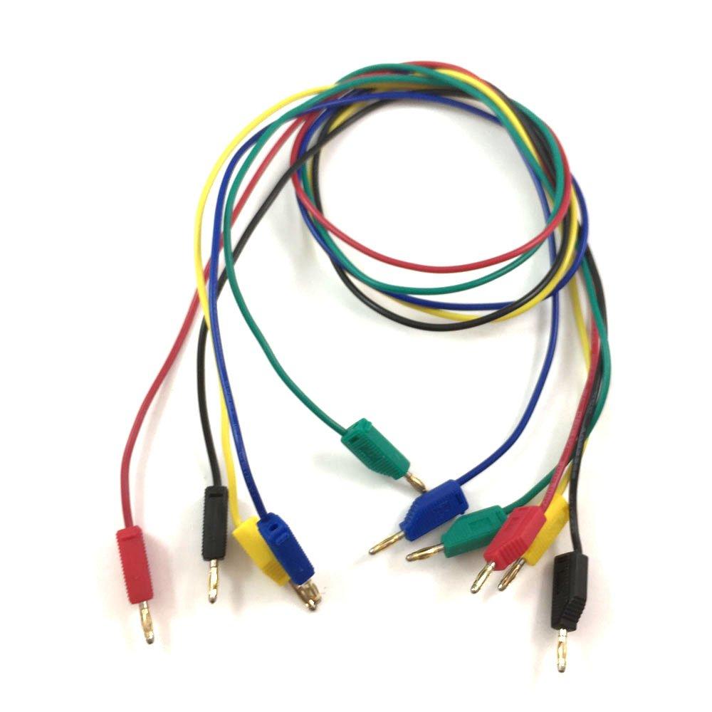 da 2/mm cavo da 50/cm M//M per test su strumentazione. 5 connettori di prova in 5 colori connettori con spina a banana placcati d/'oro