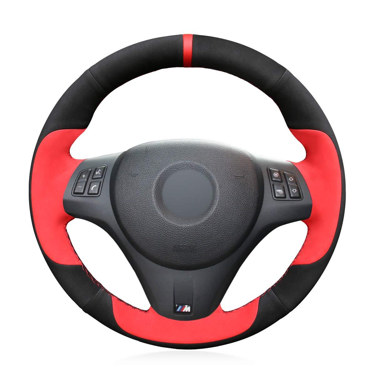 MEWANT DIY Customized Hand Stitch Black Genuine Leather Black Suede Car Steering Wheel Cover for M Sport M3 E90 E91 E92 E93 E87 E81 E82 E88 X1 E84