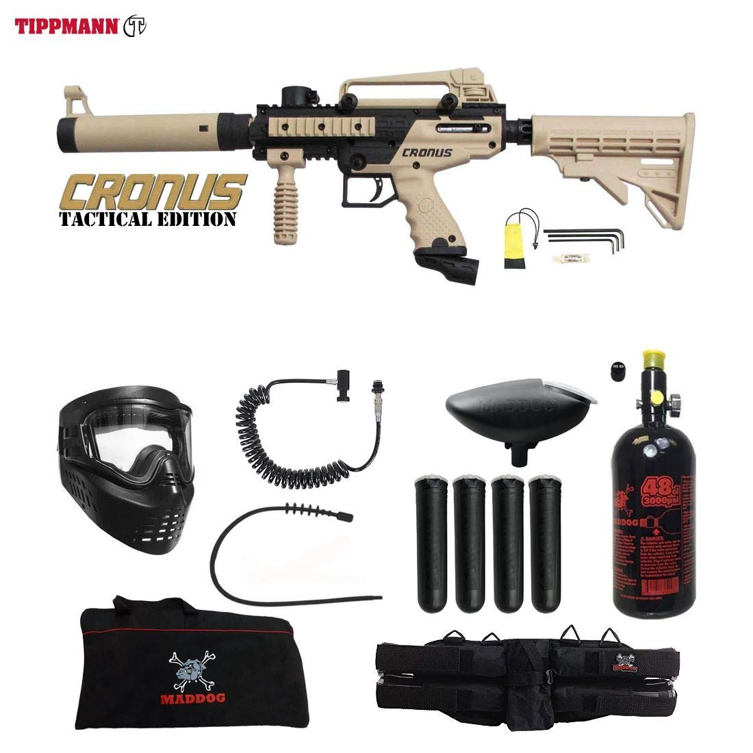 Maddog Tippmann Cronus Tactical Specialist HPA Paintball Gun Package - Black/Tan by Maddog