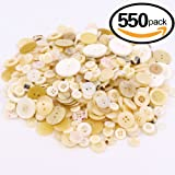 Swpeet 550 Pieces Assorted Sizes Resin Buttons 2 and 4 Holes Round Craft Buttons for Sewing DIY Crafts Children's Manual Button Painting (Shell color)
