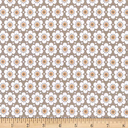Robert Kaufman Fleurie Flannel Allover Flowers Fabric, Taupe, Fabric By The Yard
