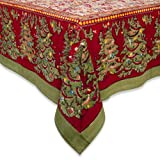 Couleur Nature 90-inches Round Noel Tablecloth, Red/Green