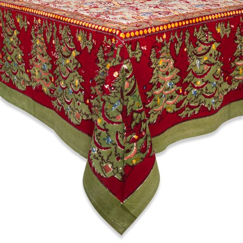 Couleur Nature 71-inches by 106-inches Noel Tablecloth, Red/Green by Couleur Nature