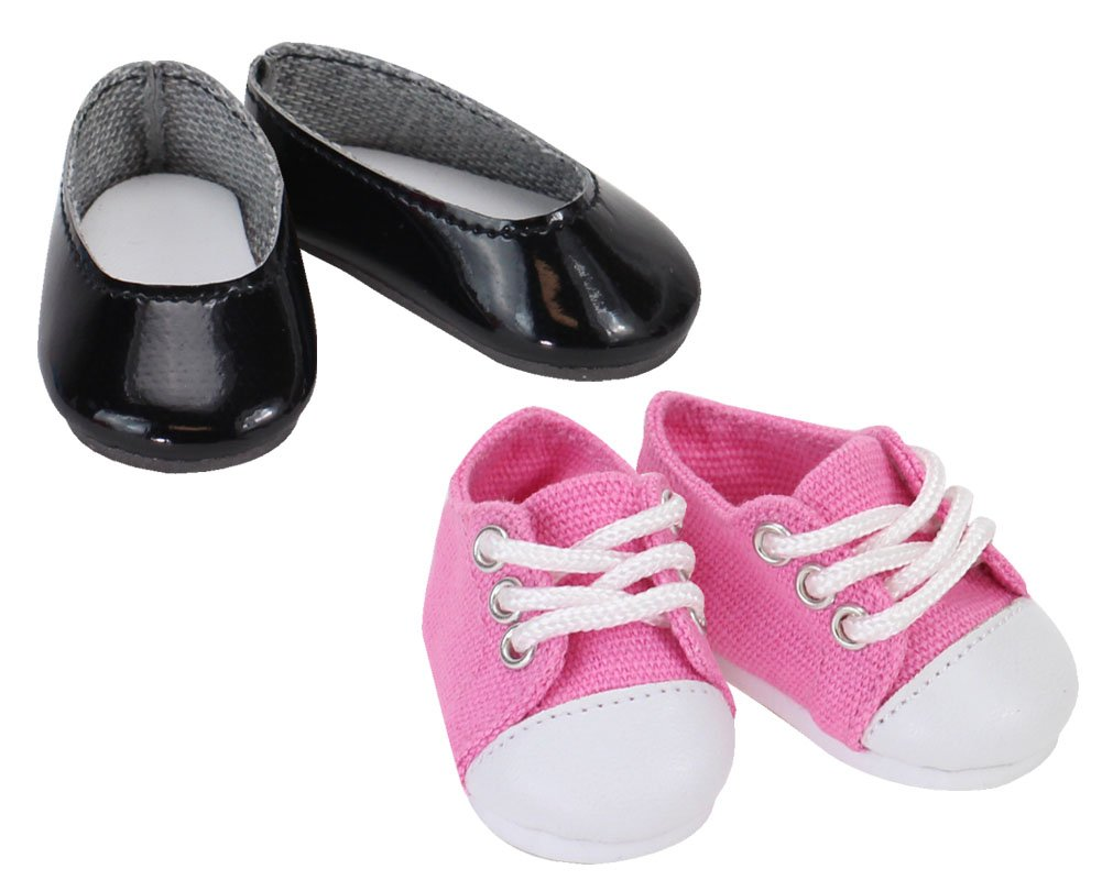 Sophias 14 1//2 Inch Black Doll Shoes of Ballet Flats /& Light Pink Sneaker Shoes Set Perfect for Wellie Wishers /& More Sophia/'s