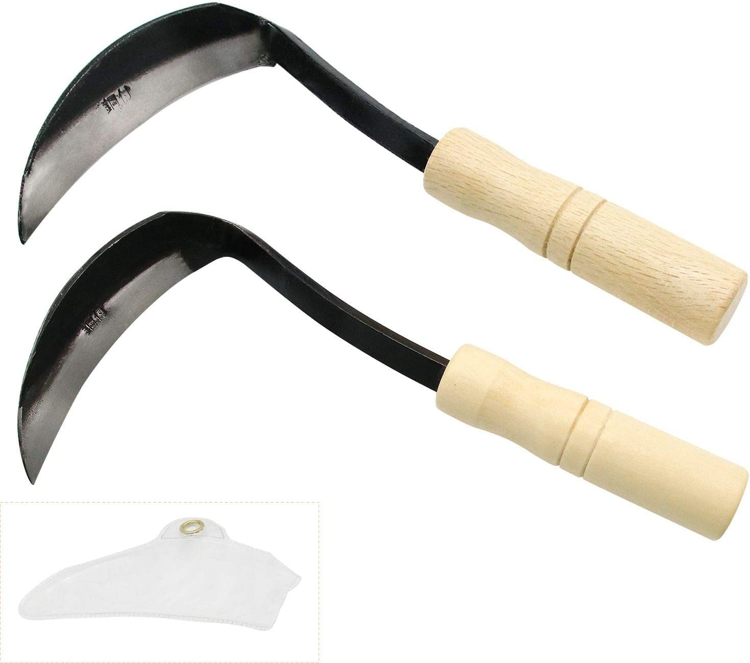 ZOENHOU 2 PCS 10.2 x 4.5 Inch Weeding Sickle with Wooden Handle, Hand Hoe/Sickle Hoe Garden Tool with Very Sharp Steel Blade for Weeding and Cultivating