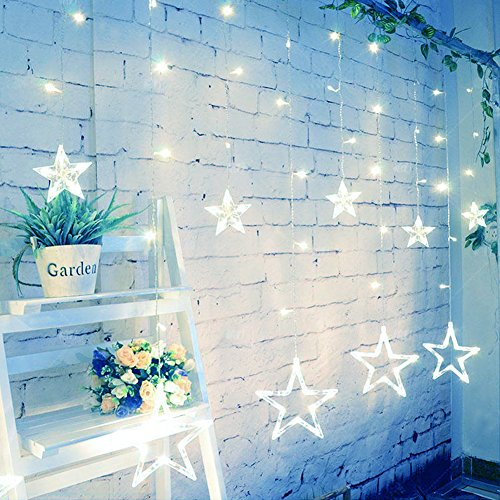 Slashome Star Curtain Lights,8 Modes,29V,with 12 Stars 138pcs LED Waterproof Linkable Curtain String Lights,White String Light for Christmas/Halloween/Wedding/Party Backdrop,UL Listed