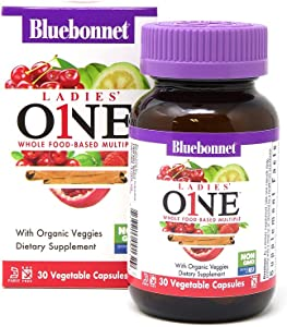 Bluebonnet Nutrition Ladies One Vegetable Capsule, Whole Food Multiple, K2, Organic Vegetable, Energy, Vitality, Non-GMO, Gluten Free, Soy Free, Milk Free, Kosher, 30 Vegetable Capsule, 1 Month Supply