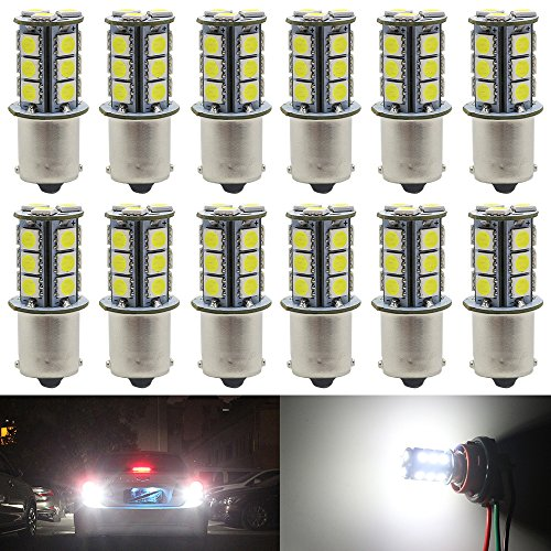 12-Pack 1156 BA15S 7506 1141 1003 1073 White LED Light 12V-DC, AMAZENAR 5050 18 SMD Car Replacement For Interior RV Camper Turn Signal Light Lamps Tail BackUp Bulbs