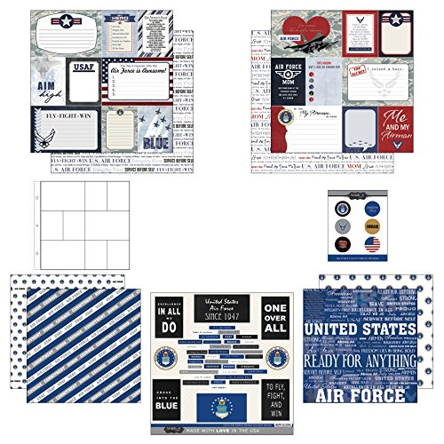 Scrapbook Customs Themed Paper and Stickers Scrapbook Kit, Air Force Mom Journal ()