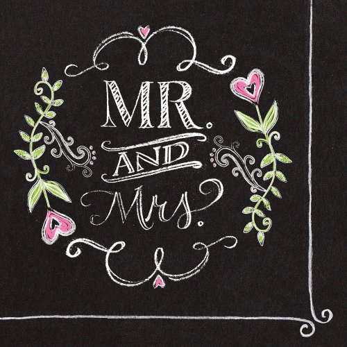 Creative Converting 18 Count Mr. and Mrs. Chalk 2-Ply Paper Luncheon (Wedding Plates And Napkins)