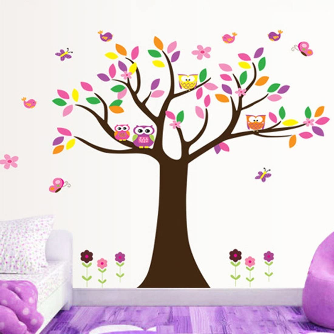 Colorful Leaves Tree Owls Butterflies Birds Wall Decal Home Sticker Paper Removable Living Dinning Room Bedroom Kitchen Art Picture Murals DIY Stick Girls Boys kids Nursery Baby Playroom Decoration