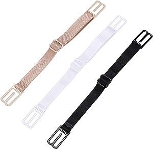 Artyea 3 Pcs Non-Slip Women's Elastic Bra Strap Holder (Black,White,Skin Color)