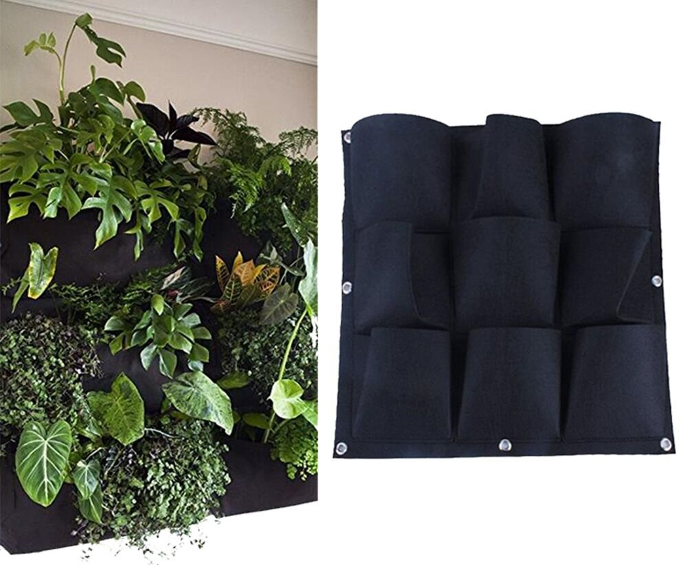 Yuccer Vertical Garden Planter, Wall-mounted Planting Bags Hangers Outdoor Indoor Vegetables Flowers Growing Container Pots (9 pocket, black) by Yuccer