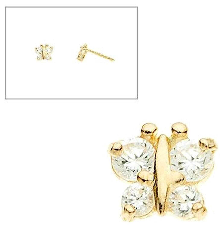 ab1aeefe0 Amazon.com: 10K Yellow Gold Butterfly Simulated Diamond CZ Screw Back  Earrings: Stud Earrings: Jewelry