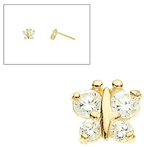 874978d21 Image Unavailable. Image not available for. Color: 10K Yellow Gold  Butterfly Simulated Diamond CZ Screw Back Earrings