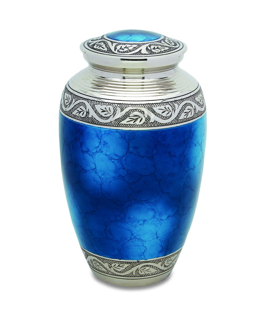 Star Legacy's Mediterranean Mystic - Blue Metal Cremation Adult Urn for Human Ashes w Velvet Bag by Star Legacy (Image #2)