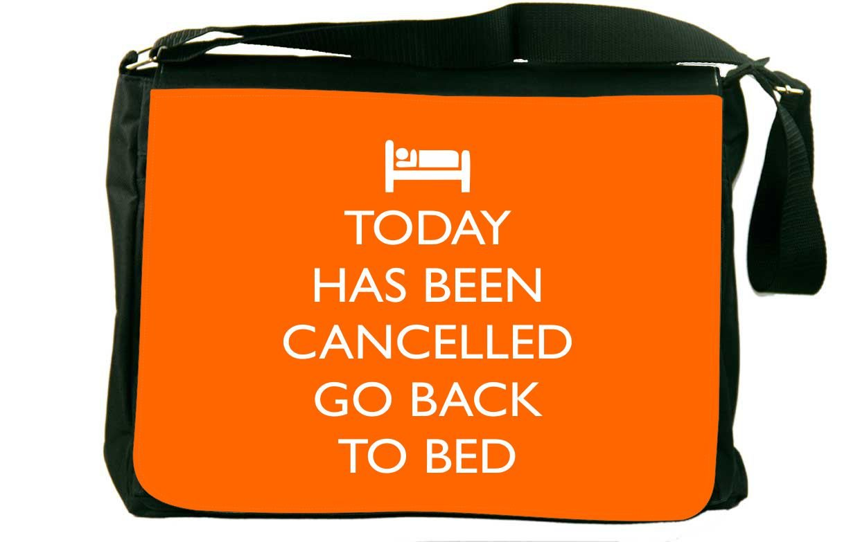 Rikki Knight Today has been Cancelled Go Back to Bed Orange Color Messenger Bag School Bag