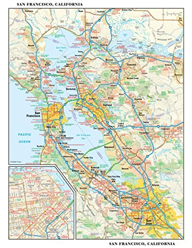 Area Wall Map - San Francisco, California Wall Map - 11.5