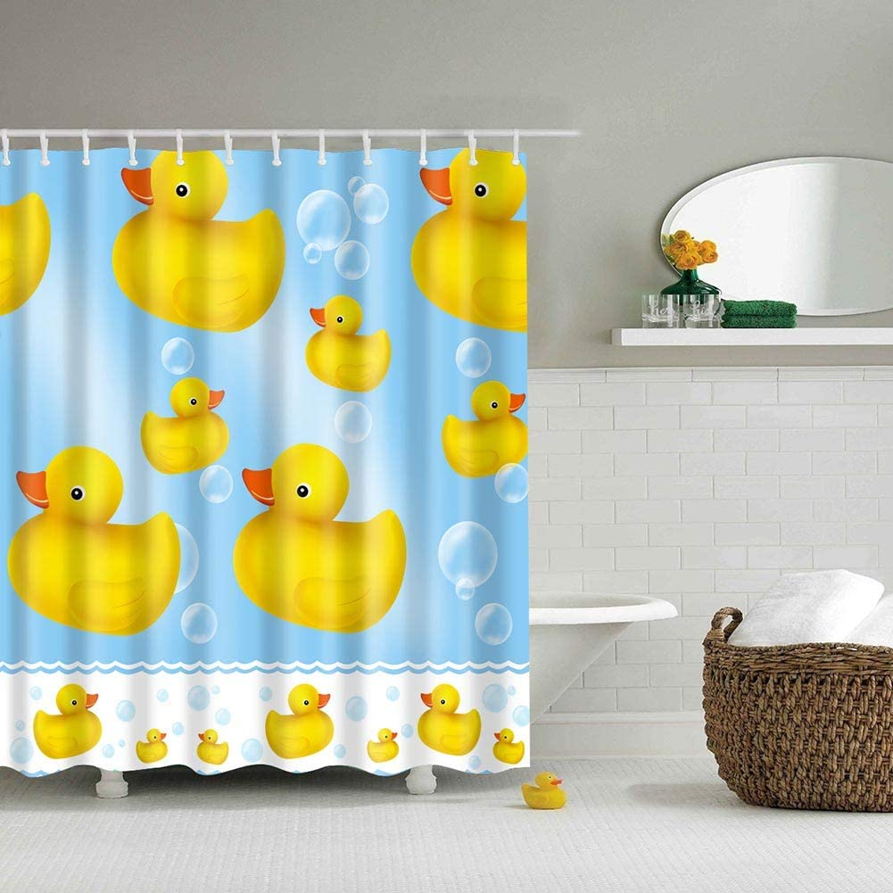 Boyouth Little Yellow Duck and Bubble Pattern Digital Print Blue Shower Curtains for Bathroom Decor,Polyester Waterproof Fabric Bath Curtain with 12 Hooks,70x70 Inches,Multicolor