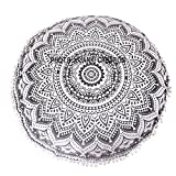 Indian Grey Ombere Round Pom Pom Round Floor Only One Cushion Cover ''32X32'' Size Indian Throw Indian Tapestry Round Cotton Mandala Pouf Bohemian Boho Home Decor Indian Round Pouf,