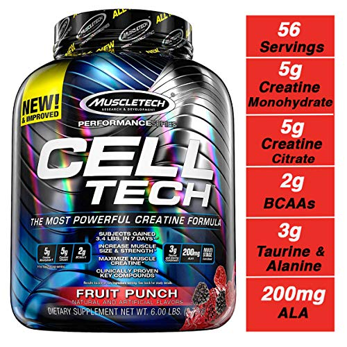MuscleTech Cell Tech Creatine Monohydrate Formula Powder, HPLC-Certified, Improved Muscle Growth & Recovery, Fruit Punch, 56 Servings (5.95lbs) (Best Creatine For Men)