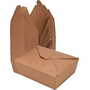 80 Pack Take Out Food Containers 27 Oz Disposable Kraft Paper Take Out Box Microwaveble Leak and Grease Resistant