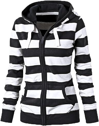Wan-T Women Pockets Hooded Classic Zipper Striped Sweatshirt Jackets