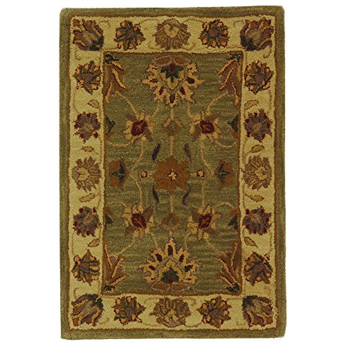 Safavieh Heritage Collection HG343A Handcrafted Traditional Oriental Green and Gold Wool Area Rug (2