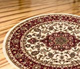 Persian Classic Ivory 7'10'' ROUND Area Rug Oriental Floral Motif Detailed Classic Pattern Antique Living Dining Room Bedroom Hallway Home Office Carpet Easy Clean Traditional Soft Plush Quality