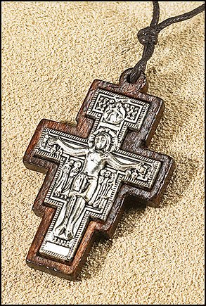 Blessed San Damiano Scapular Cross Crucifix Wood with Metal Inlay Pendant ()