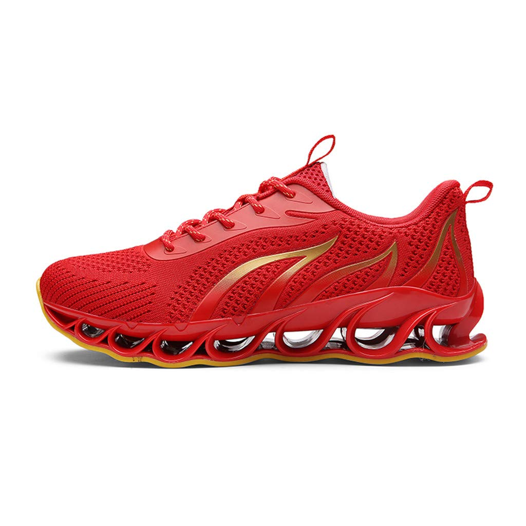 Mens Athletic Sneakers Walking Blade Gym Running Sport Shoes Lightweight Breathable Mesh Tennis Shoes Red by COPPEN