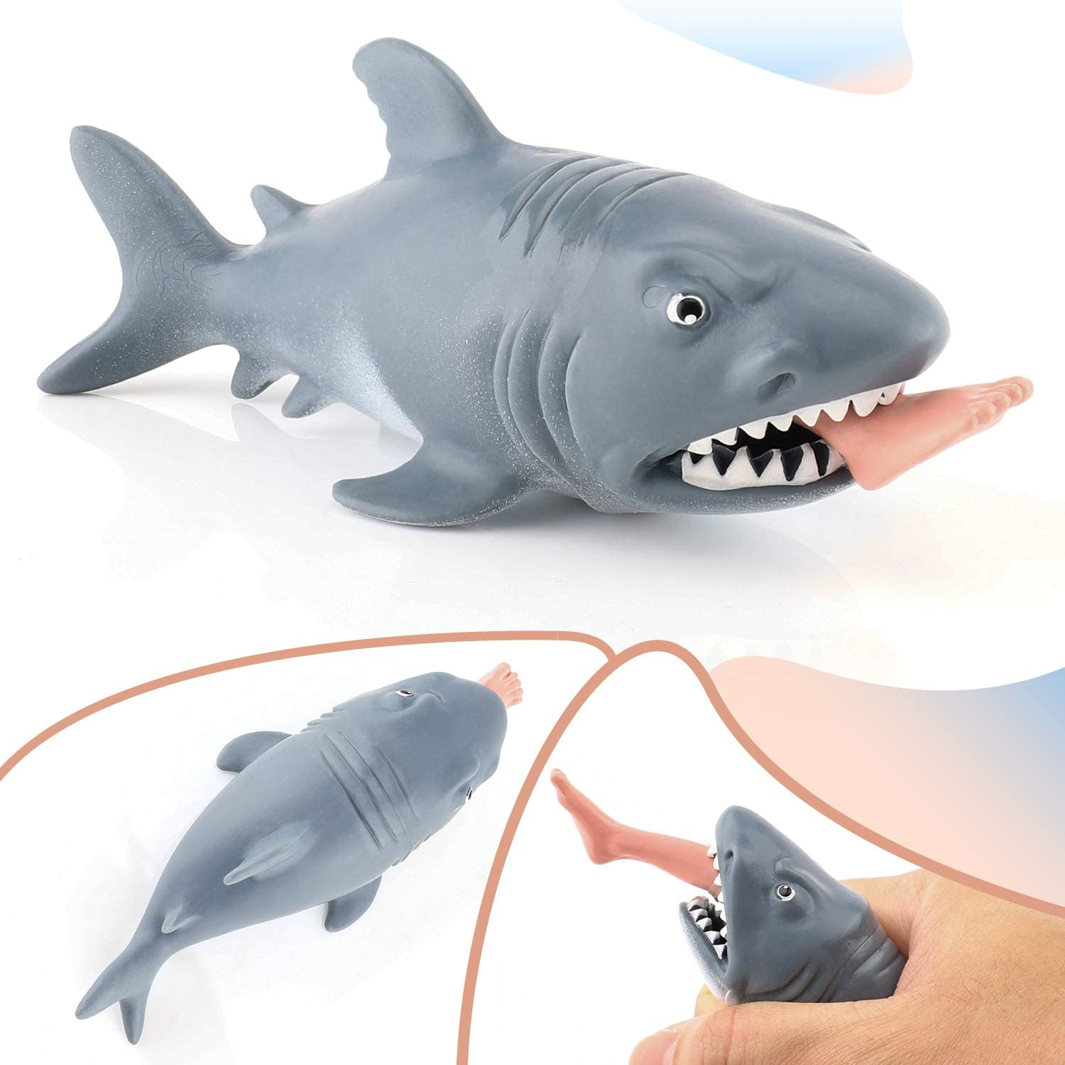 Squeeze Toys Stress Relief Toys for kids and Adults, Gem Toys Funny Shark Toys Practical Joke Toys , Great stress toys for Anxiety